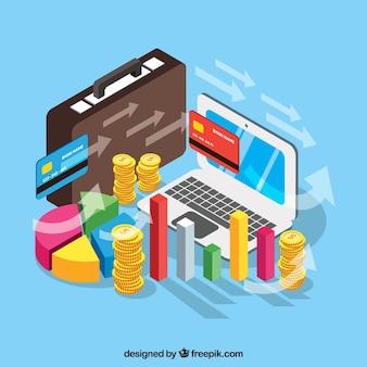 Gestão financeira com perspectiva isométrica