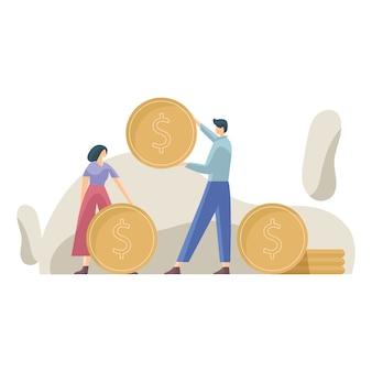 Gestão financeira, conceito de trabalho de equipe de negócios, contabilidade, crescimento dos negócios, ilustração de lucro, contas a pagar