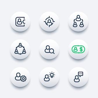 Gestão, recursos humanos, rh, conjunto de ícones de linha