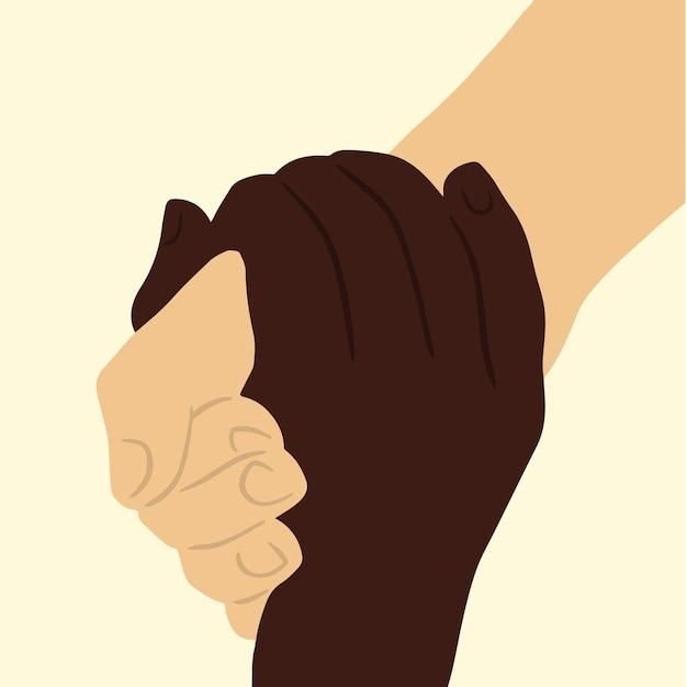Gesto com a mão de 2 pessoas com cores de pele diferentes, ajudando-se mutuamente em um vetor plano de fundo branco