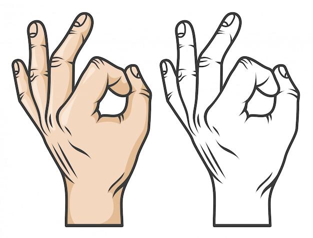Gesto com a mão ok ou zero. estilo de desenho animado de quadrinhos. versões em preto e branco e em cores.