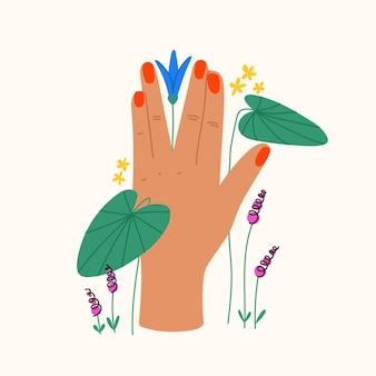 Gesto com flores e folhas composição plana da moda com a mão segurando o lírio d'água