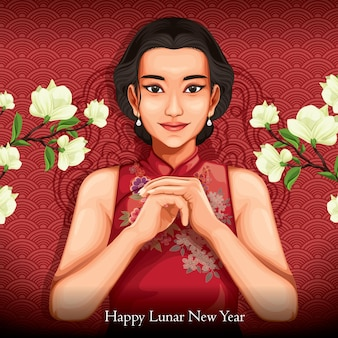 Gesto de feliz ano novo lunar