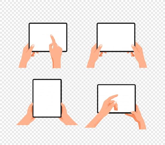 Gesto humano usando computador tablet. clipart em camadas isolado em fundo transparente