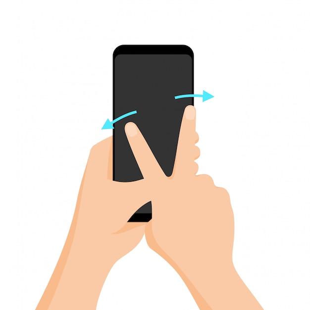 Gesto multi-touch de vetor para tablets e smartphone