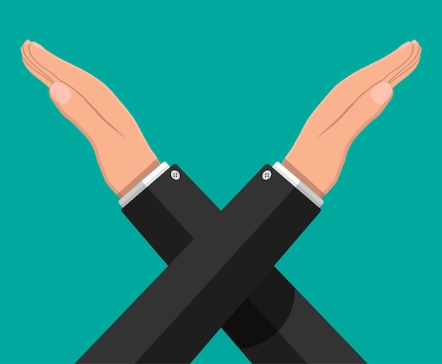 Gestos de homem cruzam as mãos. não diga nenhum gesto. boicote, protesto ou rejeição. cruzando os braços. símbolo negativo ou de parada. expressão de proibição e negação. ilustração vetorial em estilo simples