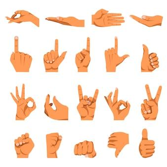 Gestos de mão e dedo vector conjunto de ícones isolados plana