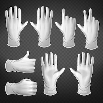 Gestos de mão em posições diferentes isoladas no fundo transparente.