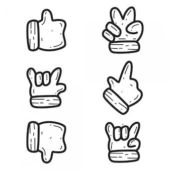 Gestos de mão kawaii doodle design