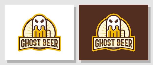 Ghost beer halloween bar bebidas assustadoras logotipo vintage