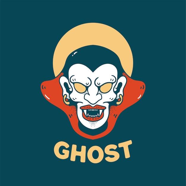 Ghost halloween ilustração estilo retro para o design de t-shirt