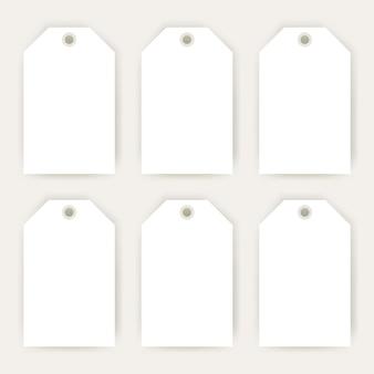 Gift labels vazio mockup. ilustração em vetor de design de consumismo em branco para promoção de compras.