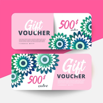 Gift voucher card set modelo com flores