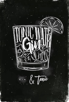 Gin tonic cocktail com letras no estilo lousa