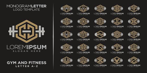 Ginásio com logotipo do monograma letter az e condicionamento físico com halteres