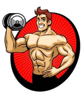 Ginásio de músculo do fisiculturista de homem