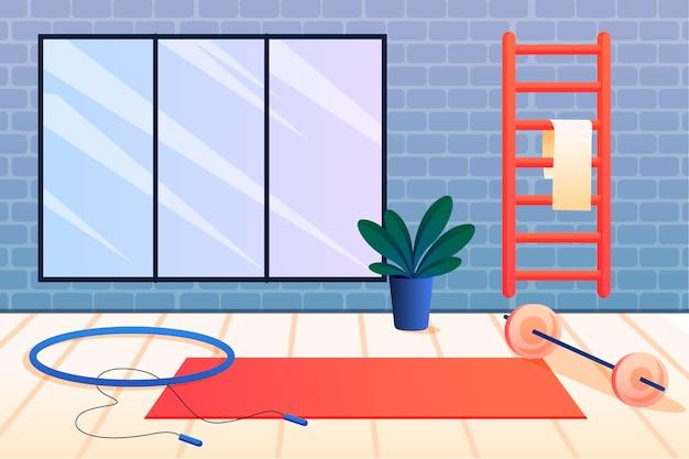 Ginásio doméstico gradiente com diferentes elementos