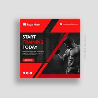 Ginásio e fitness mídia social pós-banner instagram pós-design modelo vetor premium