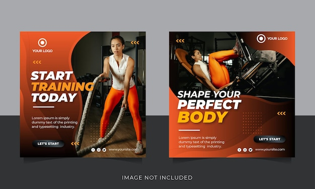 Ginásio e mídia social pós-banner ou modelo de panfleto quadrado