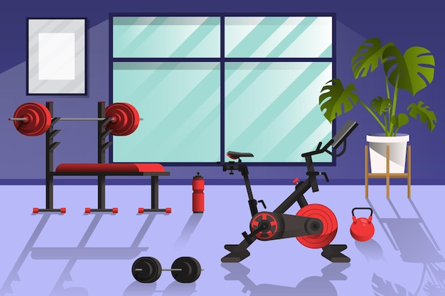 Ginásio em casa com diferentes elementos de treino