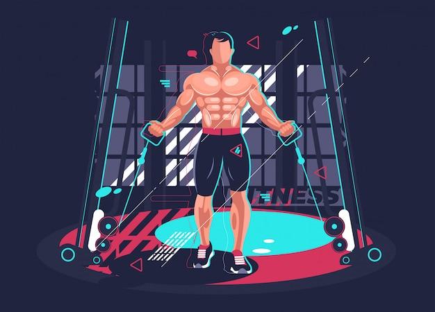 Ginásio fitness com homem forte. ilustração vetorial