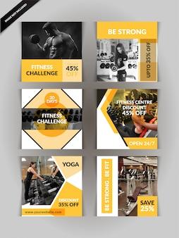 Ginásio, fitness e yoga posto de mídia social