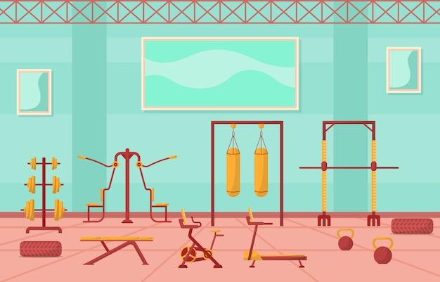 Ginásio interior centro esporte clube fitness peso musculação equipamento ilustração
