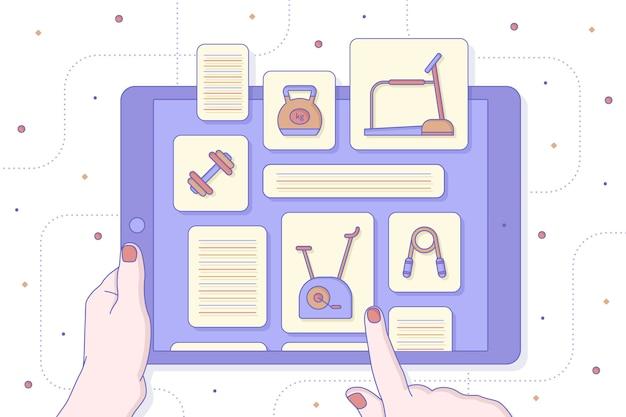 Ginásio virtual do conceito em casa