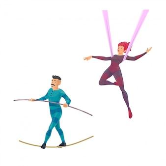 Ginasta de circo de grande porte e personagens balanceadores. mulher de acrobacias aéreas dos desenhos animados mostra um desempenho. ropewalker de homem equilibrando-se na corda com a vara. acrobata se apresentando no palco do circo