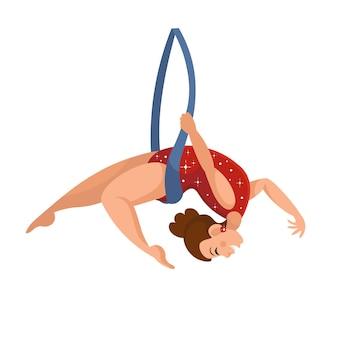 Ginasta do ar de circo dos desenhos animados com fita. ilustração vetorial