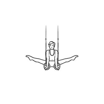 Ginasta fazendo divisão no ícone de doodle de contorno desenhado de mão de anéis. esportista atlético, conceito de exercícios acrobáticos. ilustração de desenho vetorial para impressão, web, mobile e infográficos em fundo branco.