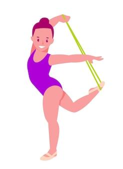 Ginasta rítmica com uma corda menina com malha de ginástica