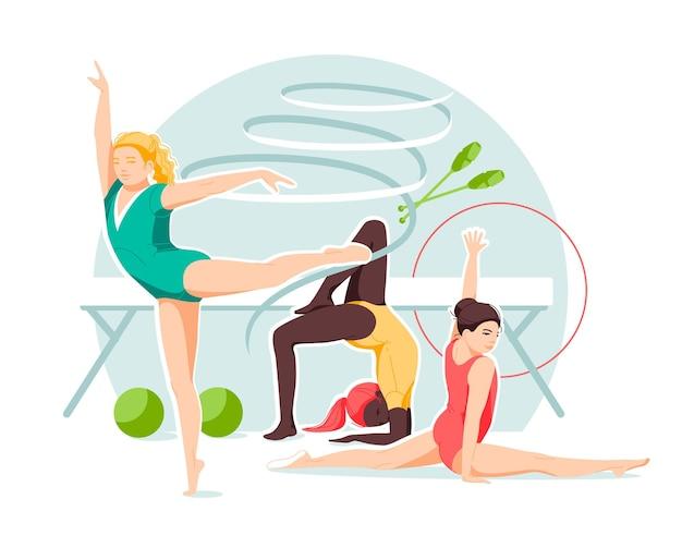 Ginastas rítmicas de meninas com vários objetos de ginástica