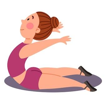 Ginástica desportiva infantil. a garota está de pé na pose de cobra. exercícios para as costas. ilustração em vetor em um estilo simples em um fundo branco e isolado.