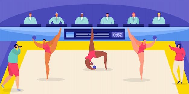 Ginástica rítmica com campeonato mundial e ginastas desempenho ilustração plana.