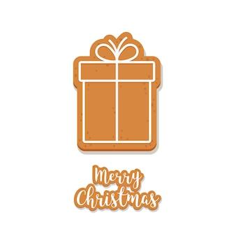 Gingerbread gift box cookie fundo de saudações de natal isolado