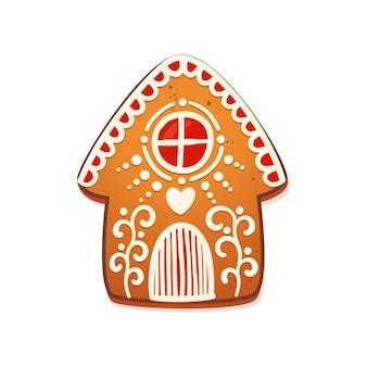 Gingerbread house. biscoito tradicional de natal bonito com decoração de glacê branco. ilustração vetorial.