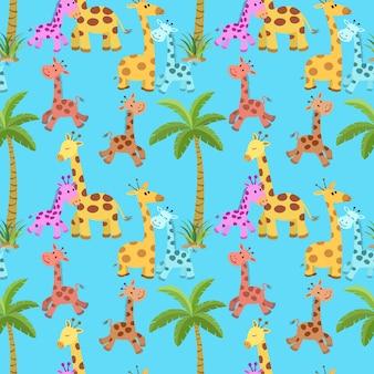 Gira girafa com padrão sem emenda de árvore de coco