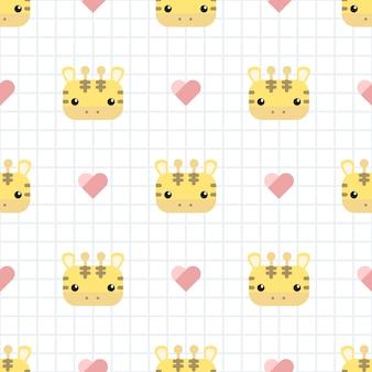 Gira girafa com padrão sem emenda de desenhos animados de grade