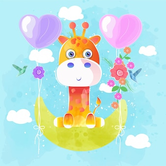 Gira girafa voando com balão de coração
