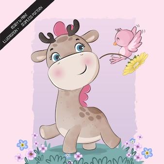 Girafa animal fofa com pássaro rosa