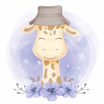 Girafa bebê fofo usando um chapéu