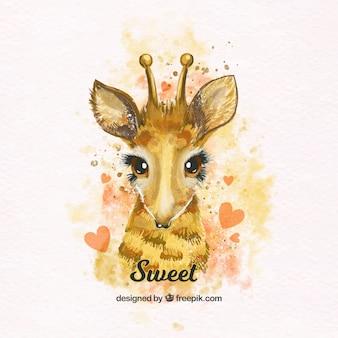 Girafa bonita da aguarela