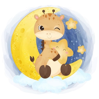 Girafa bonitinha brincando com a ilustração da lua e das estrelas