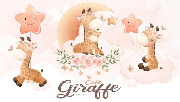 Girafa bonitinha com conjunto de ilustração em aquarela