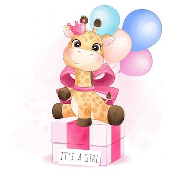 Girafa bonitinha sentada na ilustração de caixa de presente