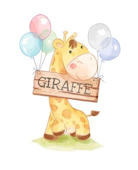 Girafa bonito dos desenhos animados e sinal de madeira girafa na ilustração de balões