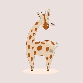 Girafa bonito dos desenhos animados impressão infantil para roupas pôsteres cartões ilustração vetorial
