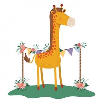 Girafa bonito e adorável com moldura floral