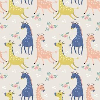 Girafa bonito no papel de parede sem emenda de matéria têxtil da tela do teste padrão da cor pastel.